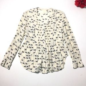 Anthropologie Maeve Horse Print Button Top